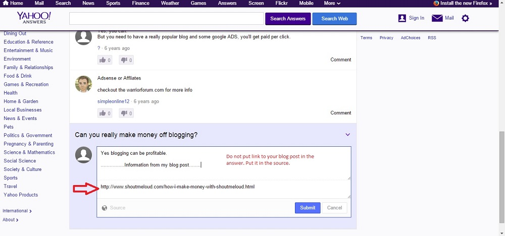 putting links at yahoo answers