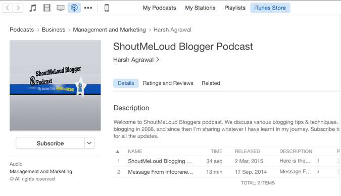 Blogging Podcast iTunes Store