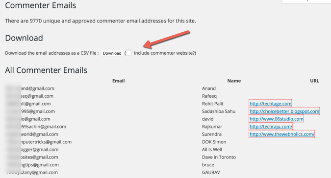Export WordPress commenter emails