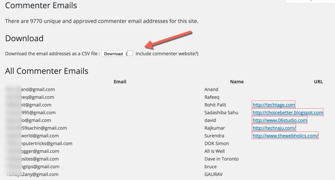 Export WordPress commenter emails