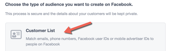 Facebook custom audience email