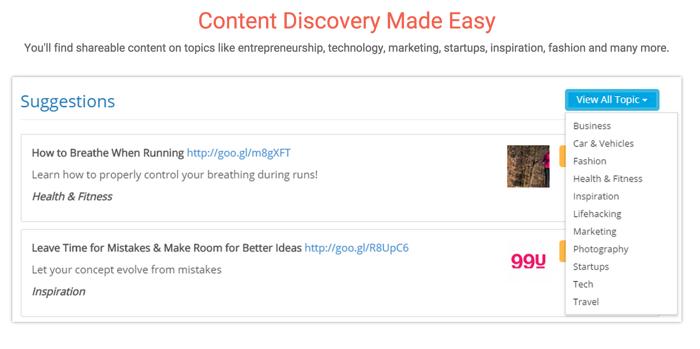 SocialPilot Content discovery