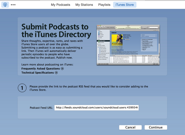 Submit iTunes Store podcast