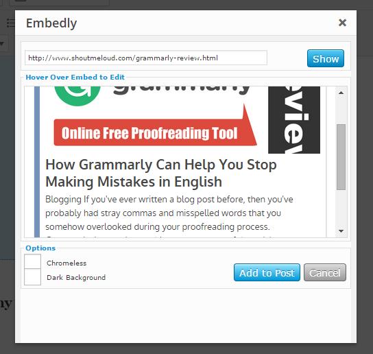 Embed Blog post