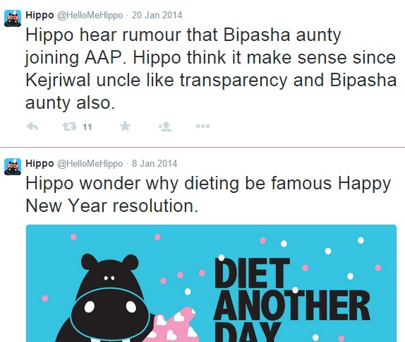 hippo breaks grammar rules on twitter