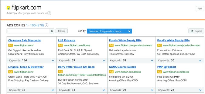 Flipkart ad database