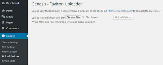 Genesis Favicon Uploader