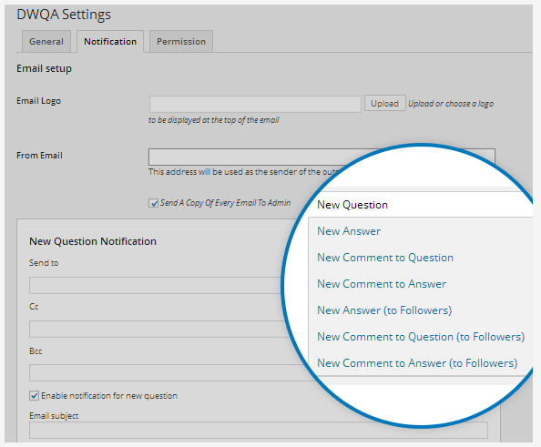 DWQA plugin settings