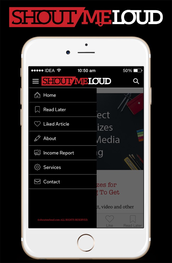 ShoutMeLoud iOS app menu