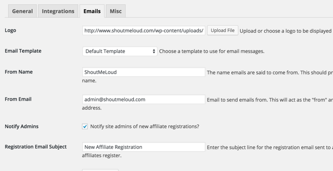 affiliate email configuration