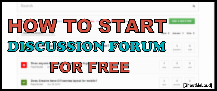 how to start a discussion forum for free
