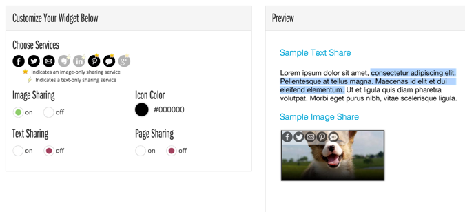 image sharing social buttons
