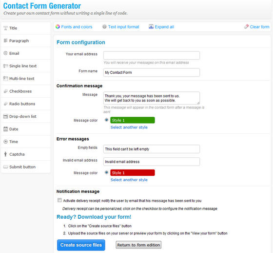 Contact Form Generator