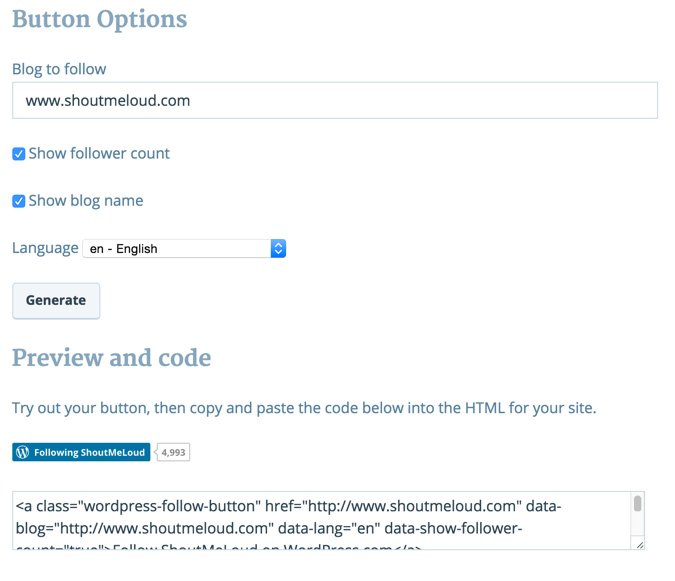 WordPress com button generator