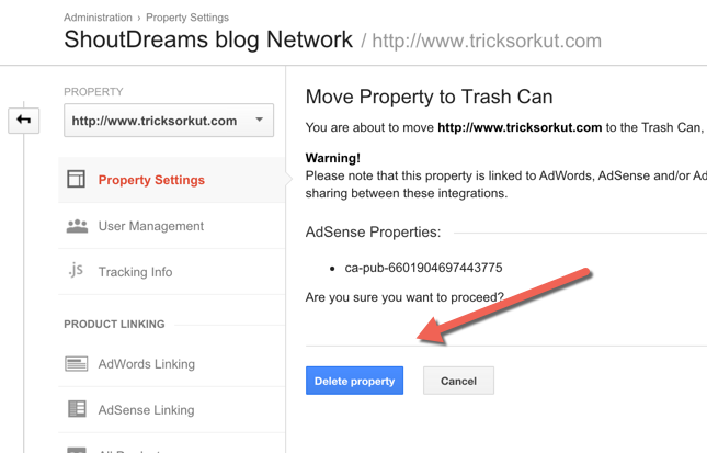 delete website from Google Analytics