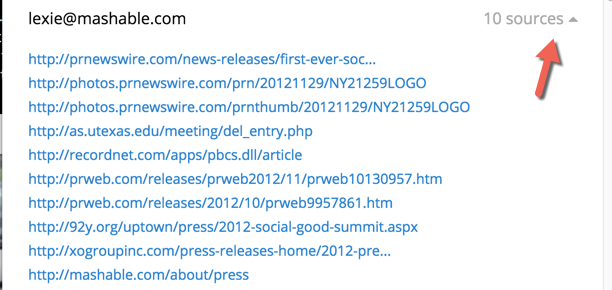 sources for email address