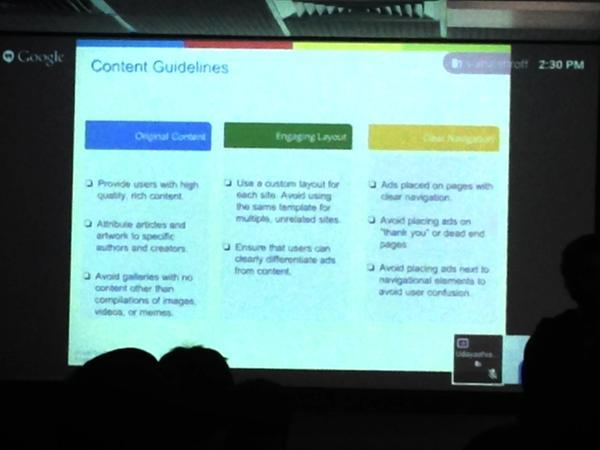 Adsense content guidelines