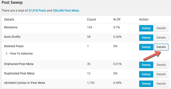 Cleaning WordPress database