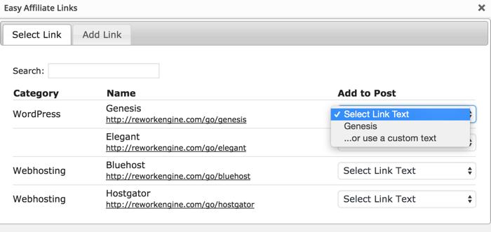 Easy Affiliate links WordPress plugin