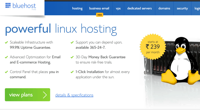 Indian bluehost features