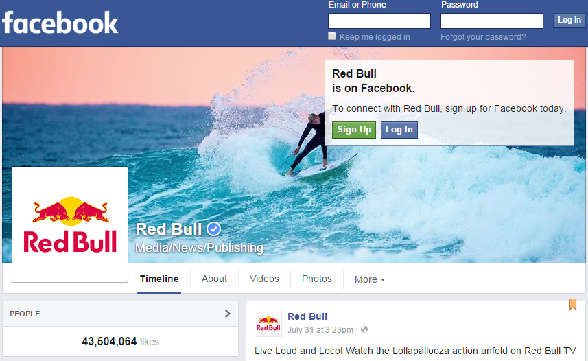 Redbull Facebook page Case study