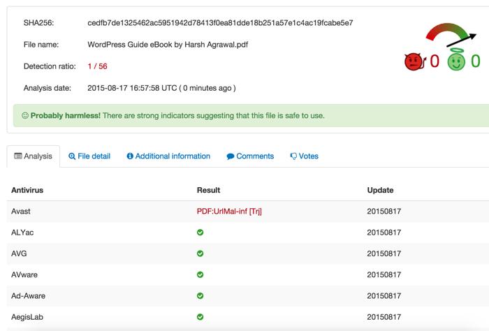 VirusTotal online virus scanner result