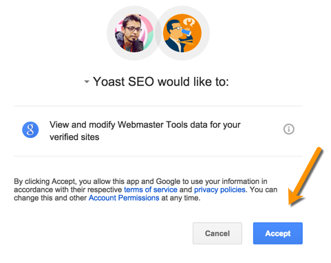Yoast SEO Google Webmaster tool