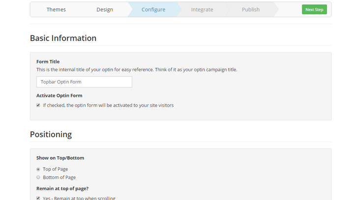 Configure email subscription form