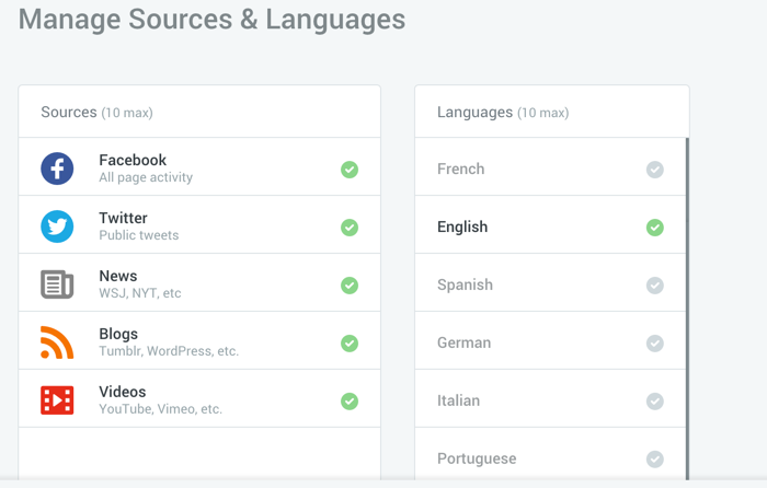 monitoring sources and languages