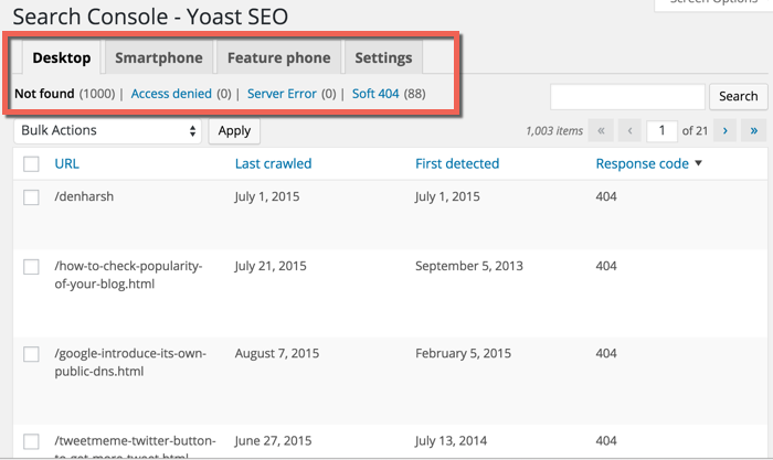 search console errors SEO by Yoast