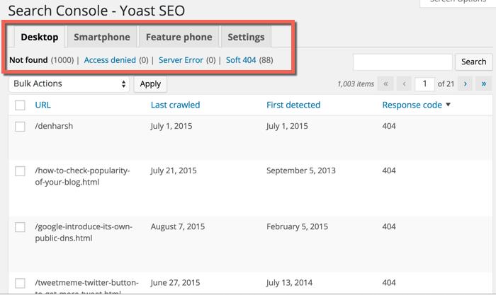 search console errors SEO by Yoast