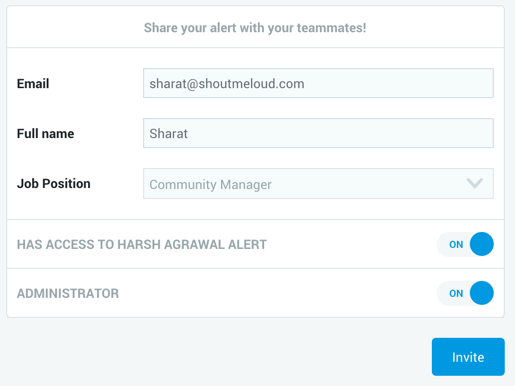share alert with team
