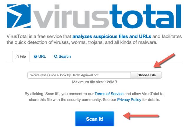 upload file check for Virus