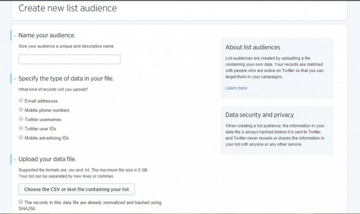 How to create a new list audience for Twitter Ads