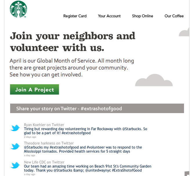 How to Starbucks used hashtags for CSR in emailing