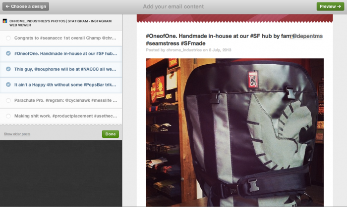 using statigram app to insert Instagram feed in emailing campaign template