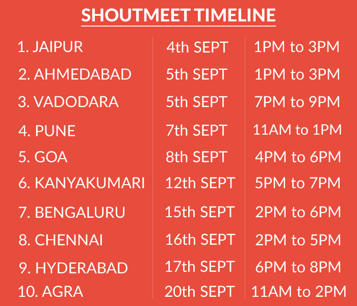 Shoutmeet Time Itinerary