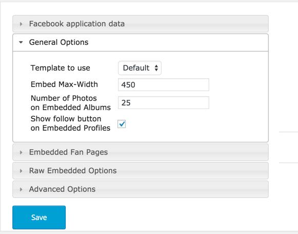 WordPress Embed Facebook settings