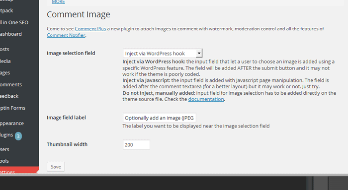 WordPress Comment image plugin settings