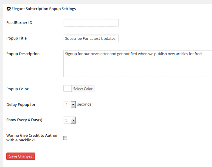 Feedburner email pop-up subscription plugin