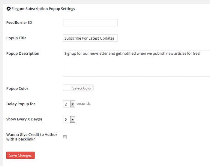 Feedburner email pop-up subscription plugin