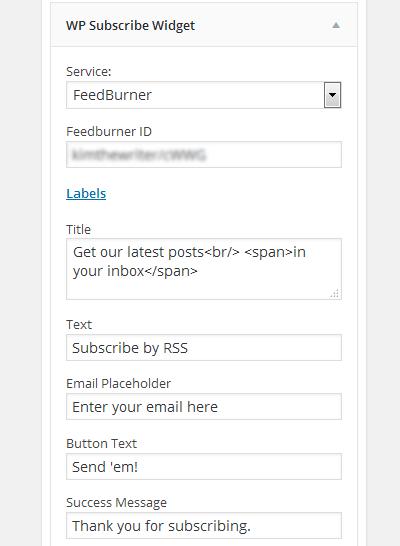 WordPress sidebar Email subscription