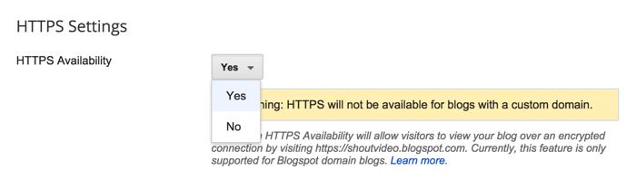 Enable HTTPS BlogSpot blog