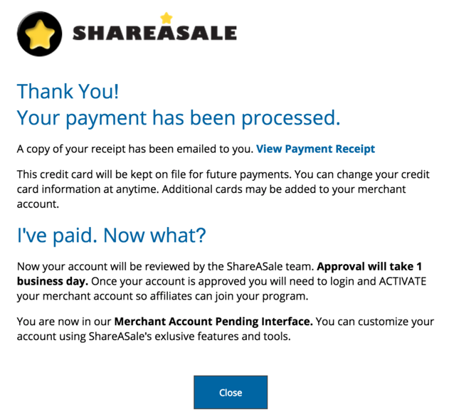 ShareASale Payment done