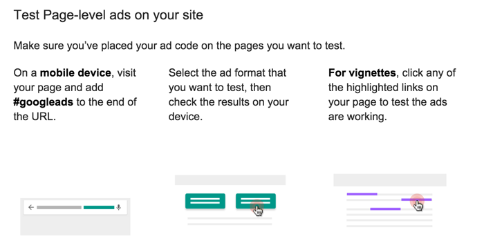 Test Page level ads by AdSense