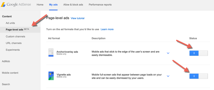 enable Adsense Anchor:overlay ads