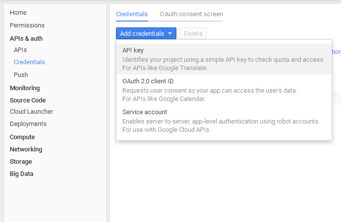 google-create-key