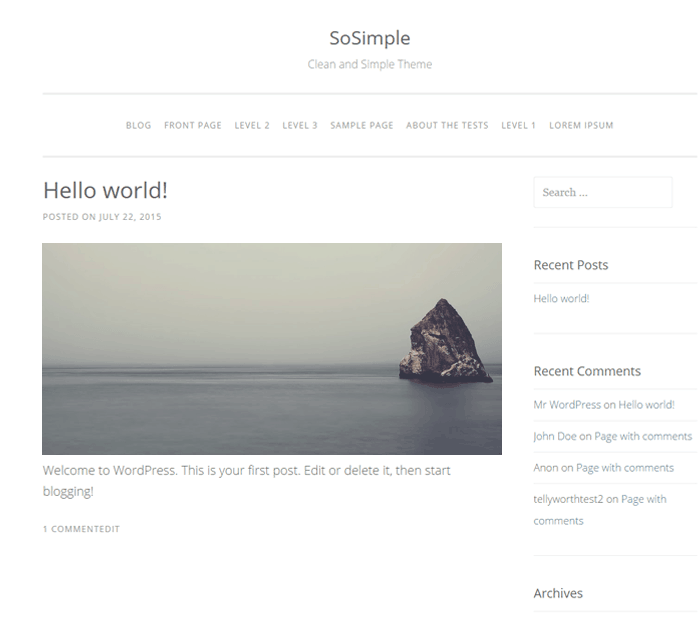 So simple WordPress Theme