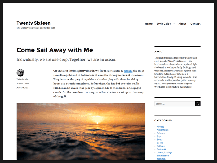 TwentySixteen WordPress Theme