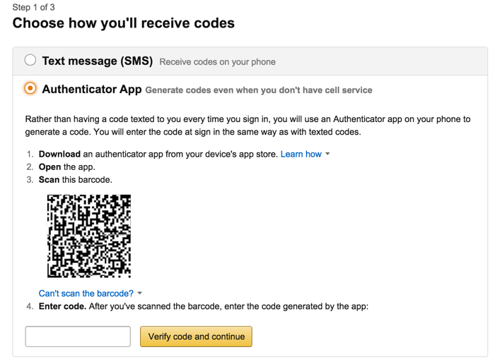 Amazon Authenticator app